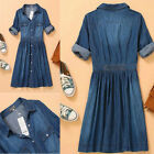 Vintage Retro Womens OL Blue Denim Button Down Shirt Dress Foldable 3/4 Sleeve