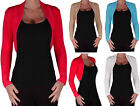 Ladies Bolero Shrug Knitted Long Sleeve Cardigan Womens Top 8-14