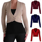 LADIES BOLERO BUTTON SHRUG KNITTED CARDIGAN WOMENS TOP 8-14