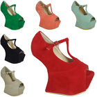 SALE!! WOMENS LADIES HEEL-LESS T-BAR PLATFORM PEEPTOE HIGH HEEL WEDGE SHOE SIZE