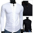 Mens Casual Shirt Crew Neck Collarless Slim Tight Fit Stretchy Cotton Fitness