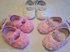 LITTLE BABY GIRLS ROSEBUDS WITH BOW SHOES WEDDING/PARTY/CHRISTENING 0-3/3-6/6-12
