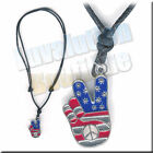 Adjustable USA Peace Hand Necklace Choker Black Brown Leather Retro Chic Deuces
