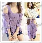 New Fresh Hollow Out T-Shirt Blouse Women Top Cute Stylish Sweater 2 Color