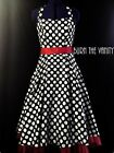 NEW VINTAGE 1950'S ROCKABILLY BLACK POLKADOT PIN UP FORMAL SWING PROM DRESS