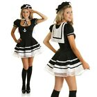 Adult 1950s Deckhand Sailor Costume Pin Up 50s Rockabilly Fancy Dress Outfit