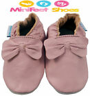 NEW SOFT LEATHER BABY & TODDLER GIRLS SHOES 0-6, 6-12, 12-18, 18-24 MTH Pink Bow