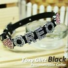 Personalized Luxury Leather Foxy Dog/Cat Collar- Glitz Black w/ Letters&Charms