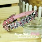 Personalized Luxury Leather Foxy Dog/Cat Collar- Glitz Pink w/ Letters&Charms