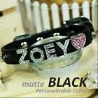 Personalized Luxury Leather Foxy Dog/Cat Collar- Matte Black w/ Letters&Charms