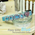 Personalized Luxury Leather Foxy Dog/Cat Collar- Glitz Blue w/ Letters&Charms