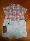 BABY BOYS LEVIS ROMPER//SHORTS 0-3/3-6/6-9 MONTHS 050813
