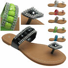 Ladies Toe Post Beaded Diamante Flat Flip Flop Sandals Shoes Size Uk 3 4 5 6 7 8