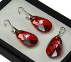SWAROVSKI ELEMENTS CRYSTAL 22mm PEAR Earrings/Set -STERLING SILVER- Red Magma
