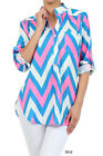 *3 COLORS* Chevron Zig Zag Stripe 3/4 Sleeve Half Button Top Shirt Blouse Bright