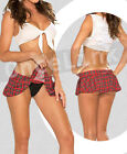 Sexy Lingerie Red Plaid Bra Top Costume School Girl Uniform Mini Dress Skirt Set