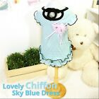 Luxury Pet Apparel- Sky Blue Dress w/ Pink Flower Small-XLarge Cute Clothes