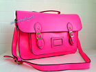 NEW NEON PINK SATCHEL VINTAGE STYLE  HAND BAG SCHOOL COLLEGE TOTE FESTIVAL