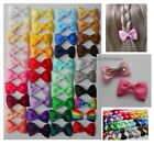 2 x Single Bow Hair clips - 2 colours of your choice! 35mm (3.5cm) -Alligator