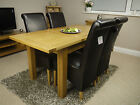 BRENT EXTENDING OAK DINING TABLE & x4 CHAIRS *SOLID WOOD* LEATHER SCROLL BACK