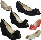 FAUX SUEDE NEW WOMENS LADIES LOW HEEL WEDGES CASUAL POSH COURT WORK SHOES SIZE