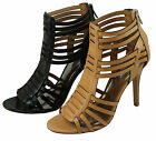 Coach Womens Lucy Black Or Brown Light Tan Strappy Casual Zipper Fashion Heels