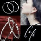 STYLISH LADY CRYSTAL RHINESTONE CIRCLE SILVER DANGLE BIG HOOP HOT EARRINGS