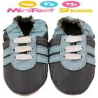 NEW SOFT LEATHER BABY SHOES 0-6, 6-12, 12-18, 18-24 Mths & 2-3 Yrs GREY TRAINER