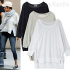 AnnaKastle Womens Crewneck Hi-Lo Side Slits 3 4 Sleeves Boxy Top Tee size S - M