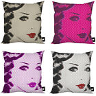 POPART WOMANS FACE RETRO DESIGN CUSHION IDEAL GIFT IDEA HOME ACCESSORY