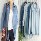 Hot Womens Fashion Short/Long Blue Jean Denim Shirt Tops Blouse 5style 6Sizes