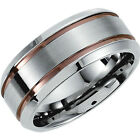 8.0mm Stainless Steel Grooved Band with Chocolate Immerse Plating Wedding Ring