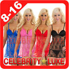 New Baby Doll Dress Babydoll Nightie Set Chemise Lingerie Lace G-String Camisole