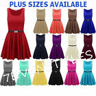 WOMENS SLEEVELESS FLARED FRANKI PLUS SIZE BELTED PARTY SKATER TOP DRESS 8-26