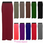 NEW LADIES ELASTICATED LONG STRETCH BODYCON JERSEY MAXI SKIRT SIZE 8-14