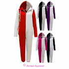 NEW LADIES TWO TONE WOMENS ONESIE PLAYSUIT ALL IN ONE HOODED JUMPSUIT 8 10 12 14