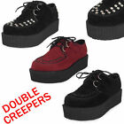 LADIES LACE UP FAUX SUEDE PUNK GOTH HIGH DOUBLE PLATFORM FLAT CREEPERS SHOE SIZE
