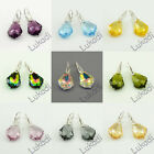 SILVER 925 EARRINGS BEAUTIFUL FASHION SWAROVSKI BAROQUE CRYSTAL NEW 11 COLORS