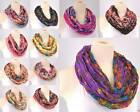 11 COLORS Infinity Circle Scarf Floral Flower Lightweight Cotton Cowl *US SELLE