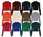 New Womens Long Sleeve Crop Top Polo Neck T Shirt Ladies UK Size 8 10 12 14
