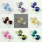SILVER 925 SWAROVSKI SETS EARRINGS + PENDANT HEART CRYSTAL 17 COLORS WEDDING NEW