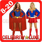 New Ladies Superwoman Super Woman Girl Hero Fancy Dress Up Costume Superhero
