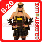 New Ladies Super Hero Bat Woman Batgirl Fancy Dress Costume Superhero Cape Mask