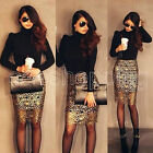 Sexy Party Cocktail Gold Hollow Crochet Bodycon Black Lining Pencil Skirt S M L