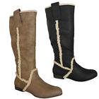 NEW WOMENS LADIES MID-CALF ZIP WINTER LACE UP COMFY WARM PIXIE FLAT BOOTS SIZE