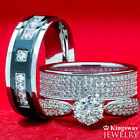 3 pc Simulated Diamond His Hers TITANIUM & SILVER Engagement Wedding Rings Set