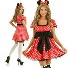 Womens Minnie Costume Mickey Mouse Dress Up Halloween Disney Party Outfit & Ears