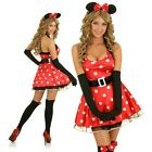 Adult Minnie Mouse Costume Halloween Dress Up Disney Party Outfit Ears & Gloves