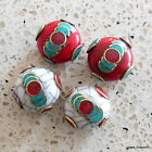 BD-129 Handmade Nepalese Tibetan Turquoise Coral Inlaid Conch Shell Brass Beads