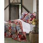 BEAUTIFUL PLAID COUNTRY HUNTING BEAR LOG CABIN WESTERN LODGE RED BLUE QUILT SET